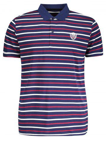 Affordable Stripe Mens Polo Shirt PURPLISH BLUE 2XL