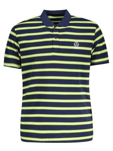 Fancy Striped Mens Polo Shirt - L GRASS GREEN Mobile