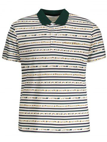 Affordable Striped Pocket Mens Polo Shirt WHITE XL