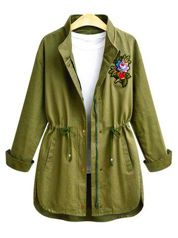 Button Up Plus Size Embroidery Coat - Army Green - 4xl