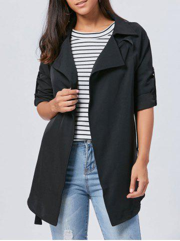Lapel Long Wrap Coat Noir 2XL