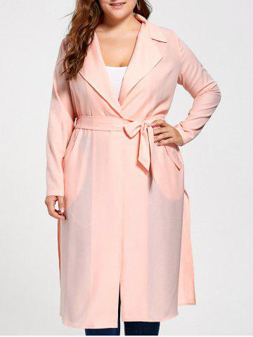 Tie Belt Plus Size Trench Coat - Orangepink - 3xl