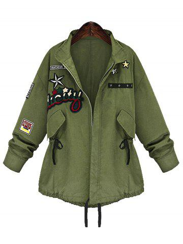 Fancy Zip Up Plus Size Patched Coat - 5XL ARMY GREEN Mobile