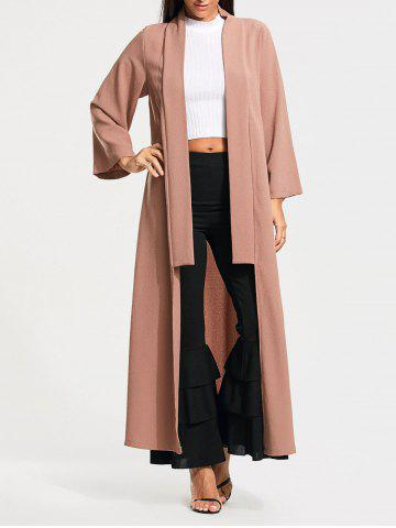 Trendy Open Front Long Maxi Cardigan - M PALE PINKISH GREY Mobile