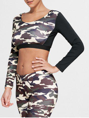Trendy Camouflage Printed Sports Long Sleeve Crop Top DUN M