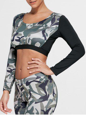 Fashion Camouflage Printed Sports Long Sleeve Crop Top - M ARMY GREEN Mobile