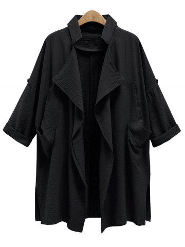 Plus Size Front Drape Trench Coat - Black - 3xl