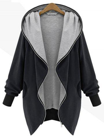 Hooded Plus Size Zip Up Coat - Black - 4xl