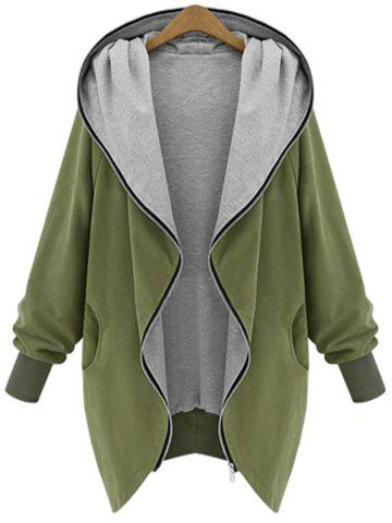 Hooded Plus Size Zip Up Coat - Army Green - 5xl