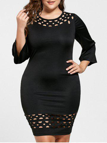 Chic Plus Size Openwork Insert Tight Dress BLACK XL
