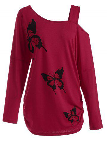 Latest Butterfly Skew Neck Drop Shoulder Plus Size Top RED 4XL