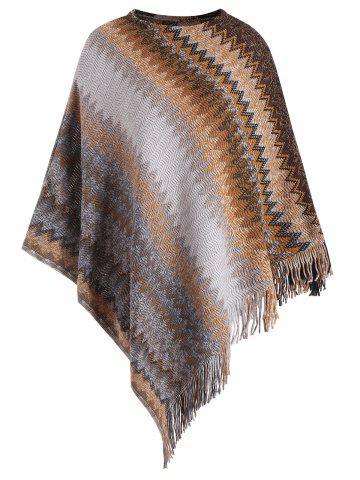 Best Fringed Zigzag Plus Size Poncho Sweater - ONE SIZE CAMEL Mobile