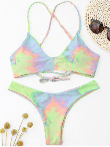 Hot Criss Cross Tie Dye Braided Bikini Set LIGHT YELLOW S