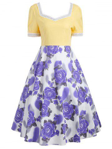 Trendy Flower Print Sweetheart Neck 50s Swing Dress - XL YELLOW Mobile