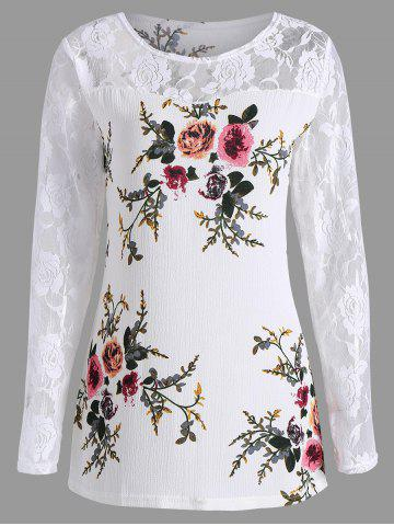Outfit Lace Panel Floral Print Plus Size Top - 5XL WHITE Mobile