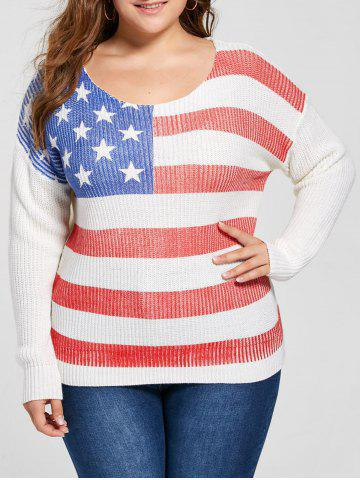 Fancy Plus Size American Flag Print Sweater