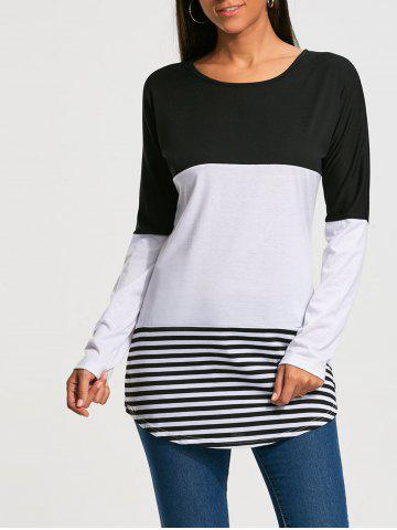 Buy Color Block Striped Long Sleeve T-shirt - 2XL BLACK Mobile