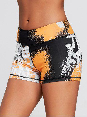 Cheap Tie Dye Hit Color Sports Tight Shorts
