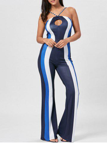 Online Keyhole Striped Spaghetti Strap Jumpsuit