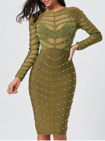 Buy Long Sleeve Rivet Semi Sheer Bandage Dress