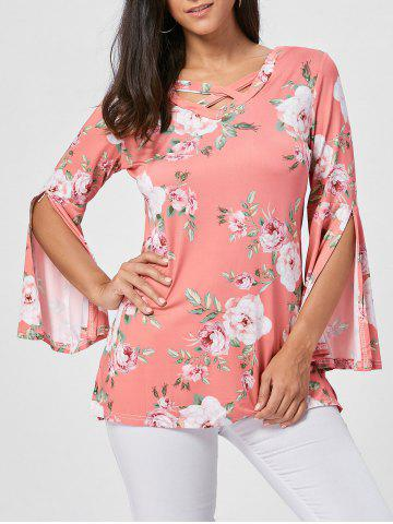 Affordable Floral Split Flare Sleeve Tunic Top