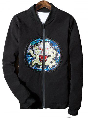 Fashion Dragon Embroidered Zip Up Jacket