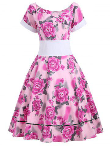 Empire Waist Flower Print 50s Swing Dress