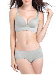 Seamless Plunge Push Up Bra - LIGHT GRAY