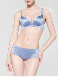 Scalloped Trim Seamless Striped Bra