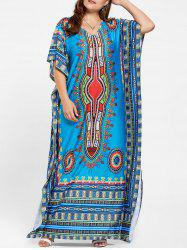 Tribal V Neck Plus Size Long Kaftan Dress