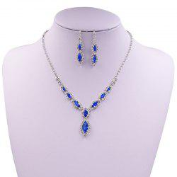Rhinestone Infinity Necklace and Earrings - BLUE