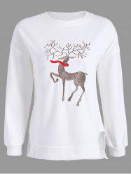 Plus Size High Low Elk Embroidered Top - WHITE 2XL