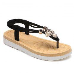Elastic Faux Pearls Flat Heel Sandals - BLACK