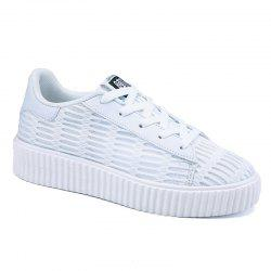 Mesh Breathable Athletic Shoes - WHITE
