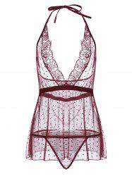 Sheep Plunge Mesh Halter Babydoll - Rouge vineux  M