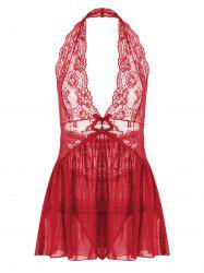 Lace Halter Backless Sheer Babydoll - Rouge XL