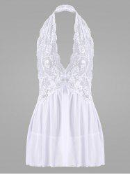 Lace Halter Backless Sheer Babydoll - Blanc L