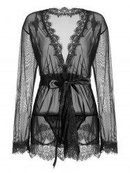 Sheer Wrap Lace Trim Kimono Dress - Noir S