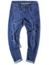 Zip Fly Tapered Fit Jeans with Multi Rips