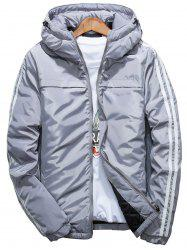 Stripe Zip Up Down Jacket - GRAY 3XL