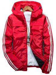 Stripe Zip Up Down Jacket - RED 2XL