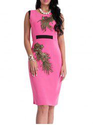 Bodycon Knee Length Floral Patch Dress