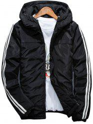 Stripe Zip Up Down Jacket - Noir 4XL
