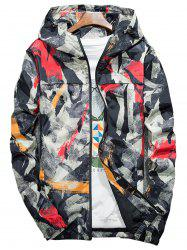 Camouflage Splatter Paint Lightweight Jacket - Rouge