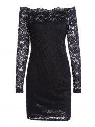 Off The Shoulder Long Sleeve Lace Dress - BLACK