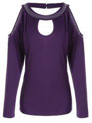 Stud Panel Cold Shoulder Long Sleeve T-shirt - PURPLE S