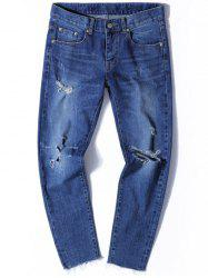 Zip Fly Tapered Fit Jeans with Knee Rips