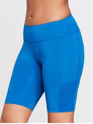 Elastic Waist Sports Shorts with Pocket - SKY BLUE XS