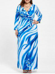 Plus Size Surplice Long Sleeve Print Pattern Dress