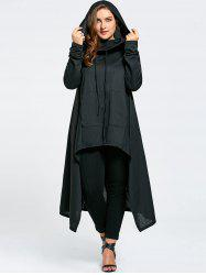 Plus Size Maxi Asymmetric Funnel Collar Hoodie - BLACK